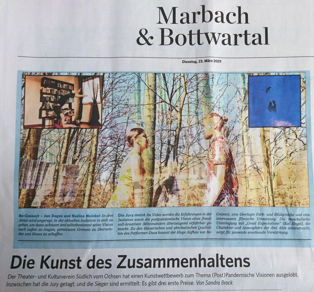 """LuxArt - Performancekunst & Feurtanz gewinnt beim Kunstwettbewerb """"Zusammenhalt ist Kunst"""" - Zeitungsartikel S.1"""