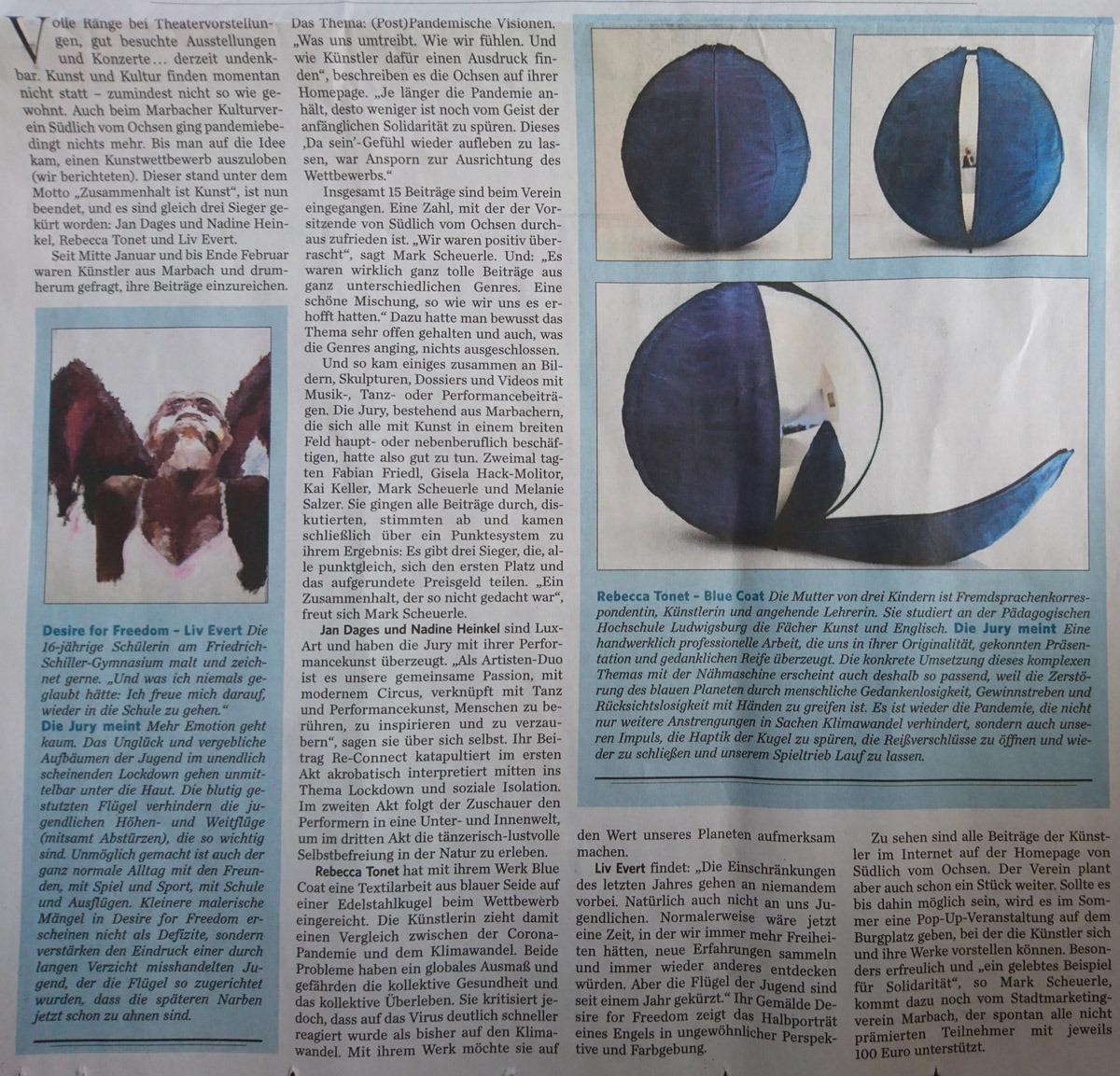 """LuxArt - Performancekunst & Feurtanz gewinnt beim Kunstwettbewerb """"Zusammenhalt ist Kunst"""" - Zeitungsartikel S.2"""